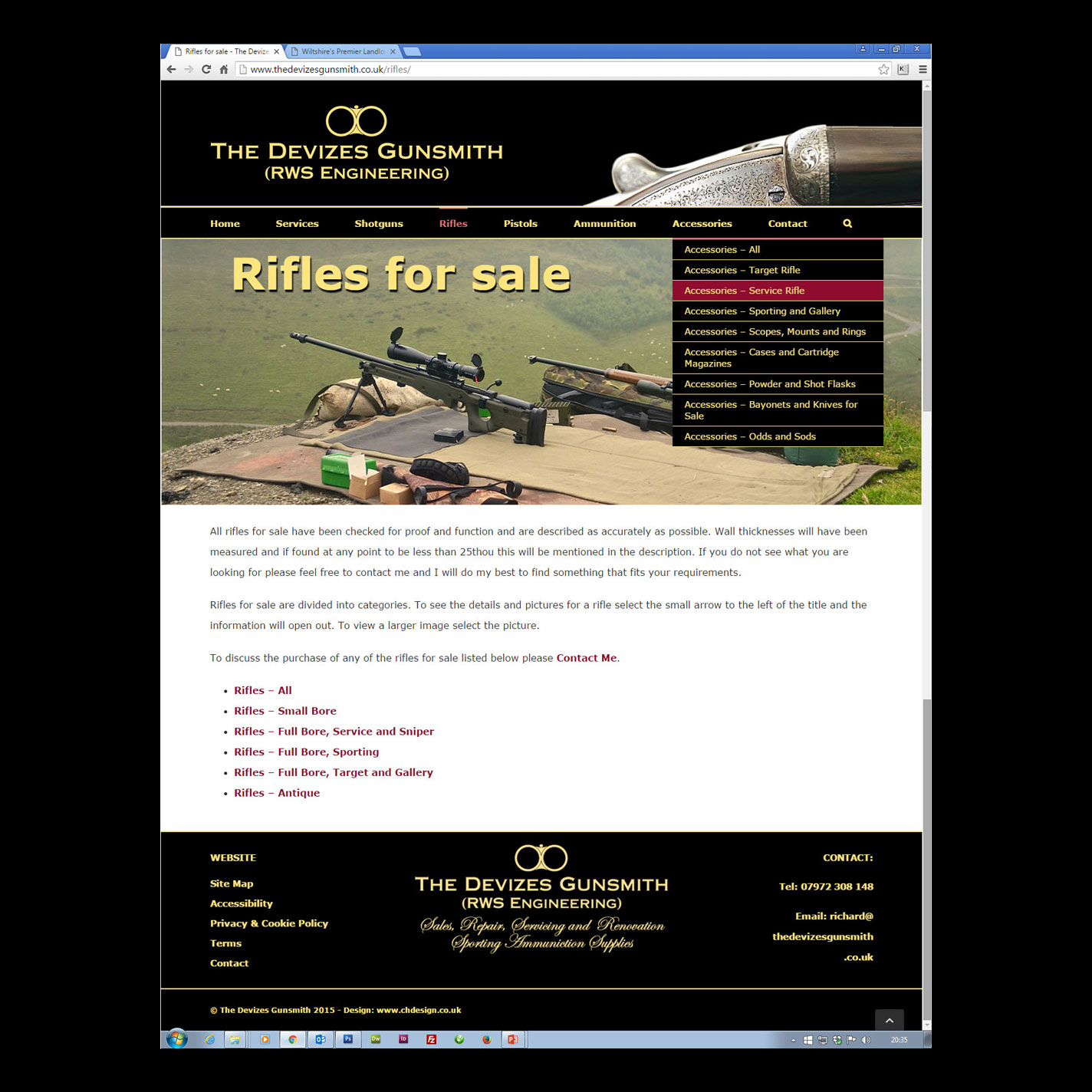 Web - 35 Page Services and Gun Listings Website for The Devizes Gunsmith in WordPress for In-house Editing - Design, Construction, Hosting & Email.