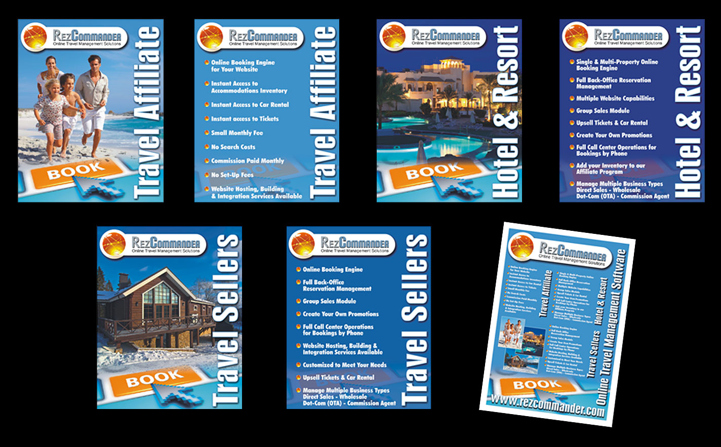 Display - Set of 6 AO Display Panels and printed leaflet for Rez Commander Booking Software, Florida - Sealed AO Prints on PVC backing sheet. - Design, Artwork & Production.