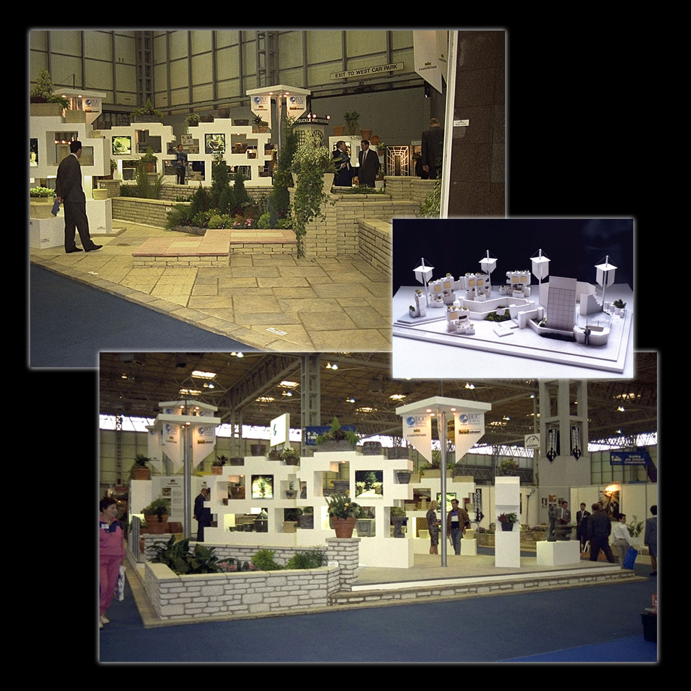 Display - Exhibition Stand for English China Clays - Bradstone Garden Landscaping Products - 20m x 10m - Design, Drawings & Supervise Build at NEC.