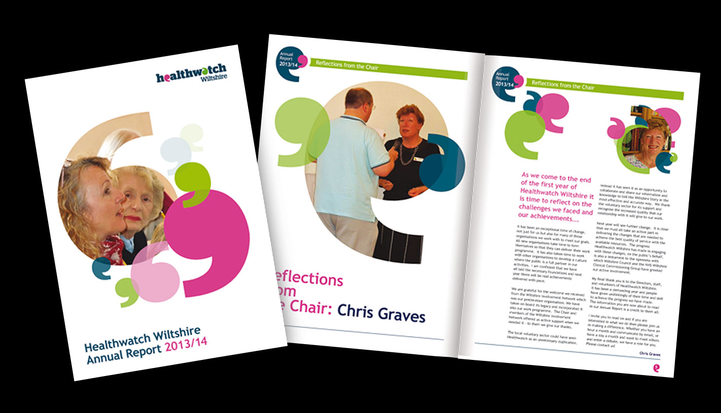 Print - Healthwatch Wiltshire - 36 Page Annual Report Digitally Printed on Indigo, Matt Laminated to Cover, Box Spine - Design, Artwork & Production,