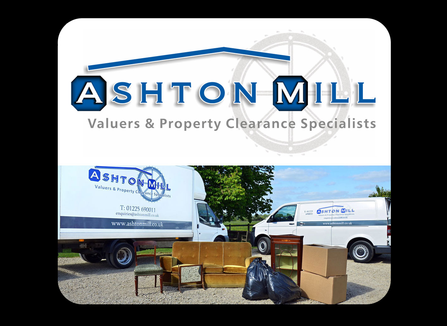 Identity - Logo for Ashton Mill Valuers and Property Clearance Specialists, Melksham - Design, Specifications & Artworks.