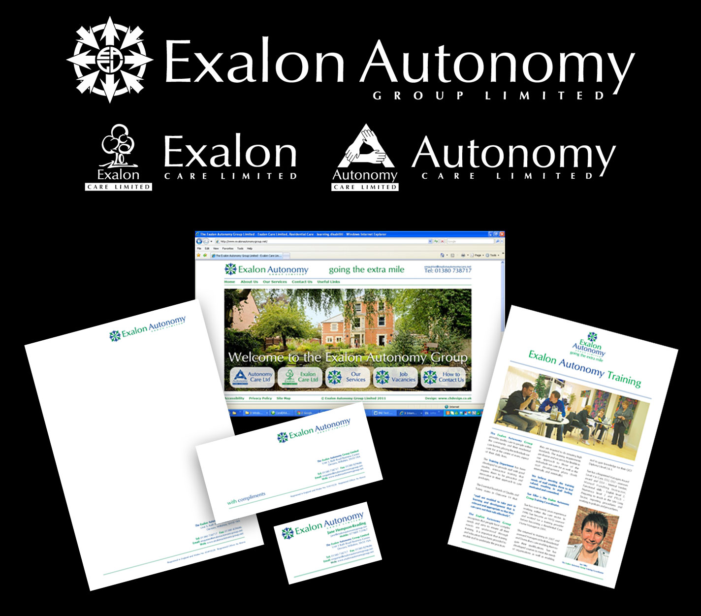 Identity - New Group Logo and Updated Logos for Exalon and Autonomy Care - Stationery, Leaflets, and Website - Design, Specifications, Artworks and Production.