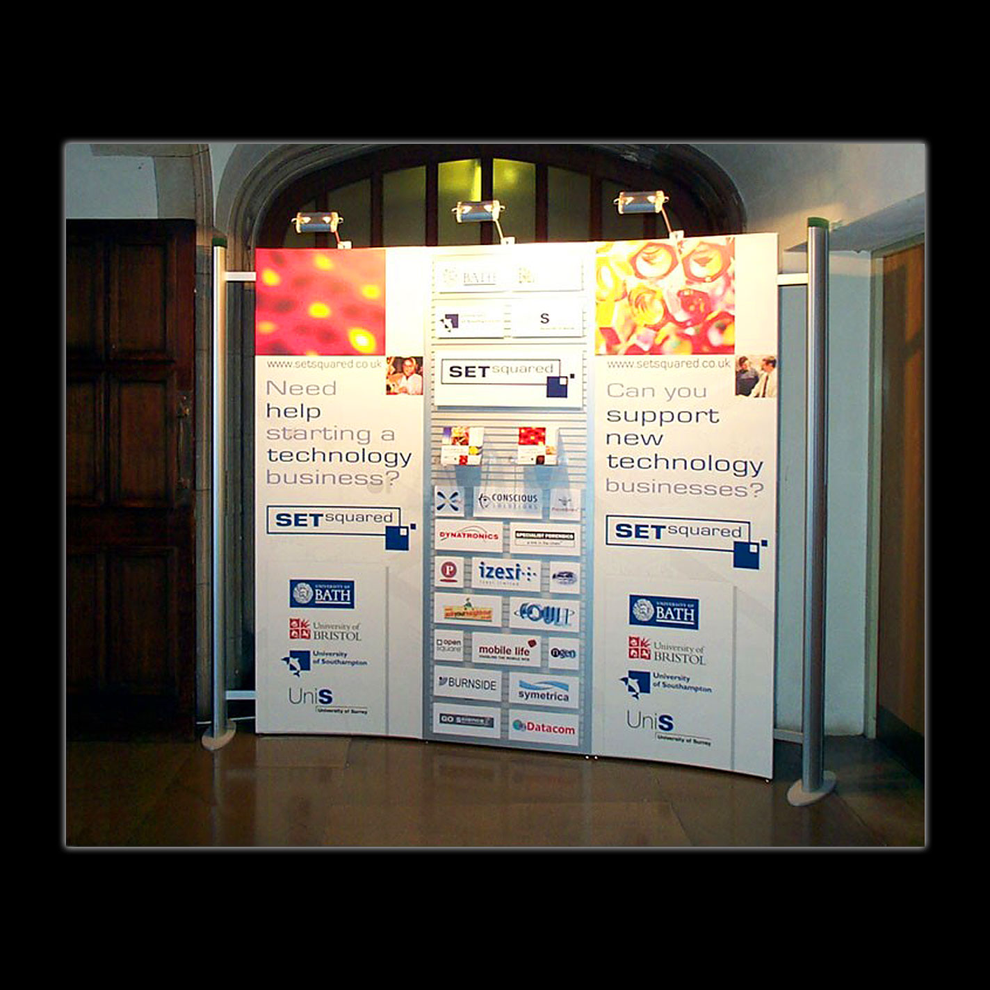 Display - Portable Display for SETsquared, Bristol - Aluminium Post & Rail System - Design & Production.