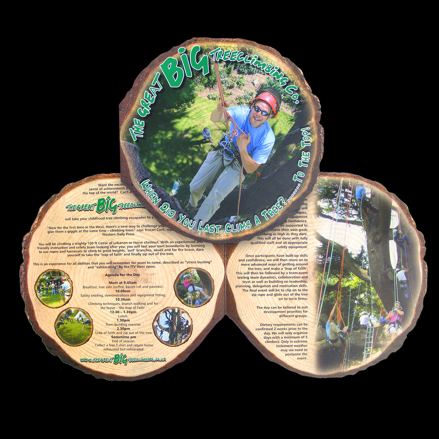 Print - 4 Page Brochure for The Big Tree Climbing Co. - 300gsm Matt Laminated, Die Cut - Design, Artwork, Cutter & Production.