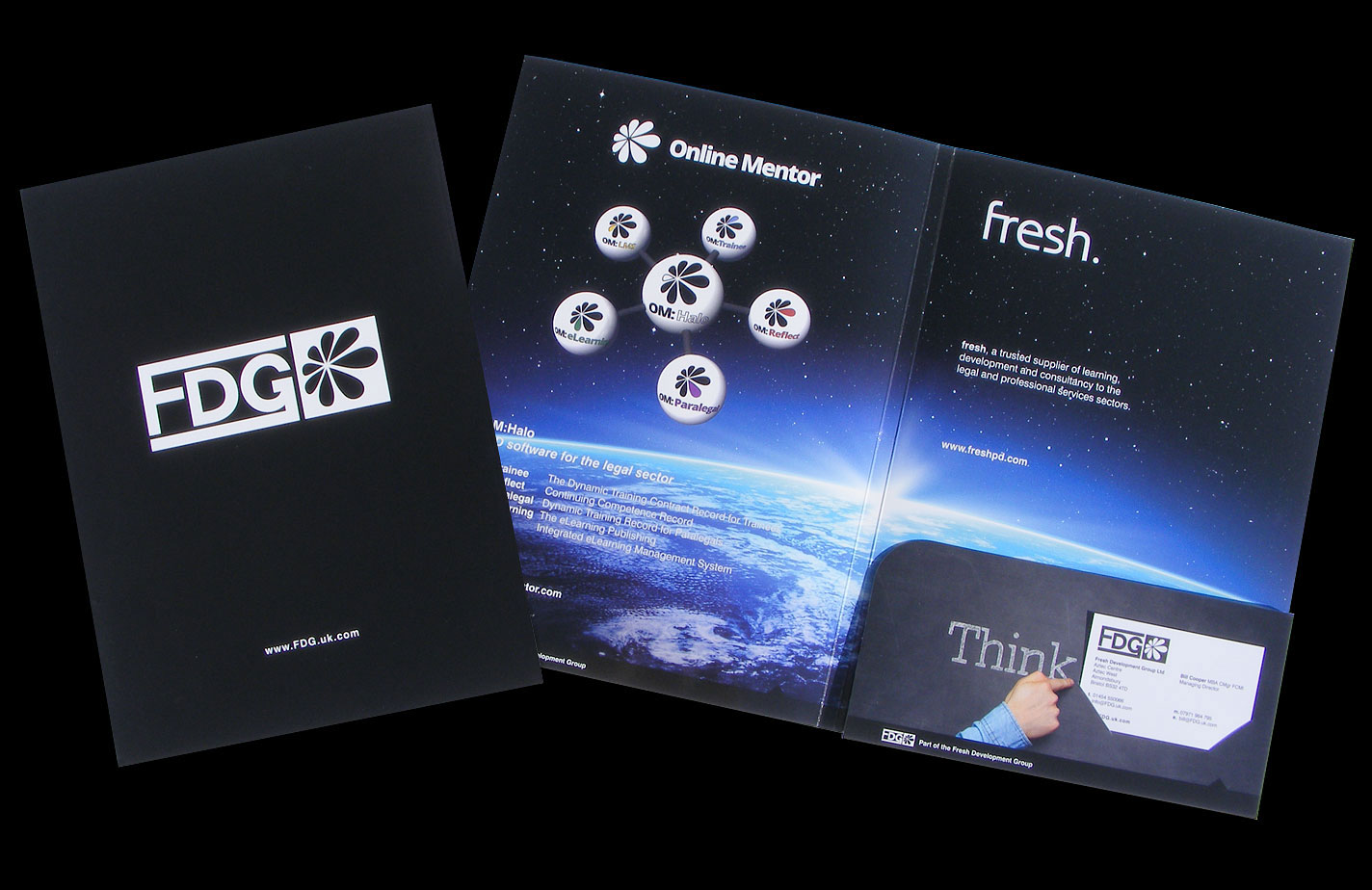 Print - Fresh Development Group - A4+, 6mm Capacity Folder, 300gsm Gloss Laminate, Card Slits - Artwork, Cutter, Illustration & Production.