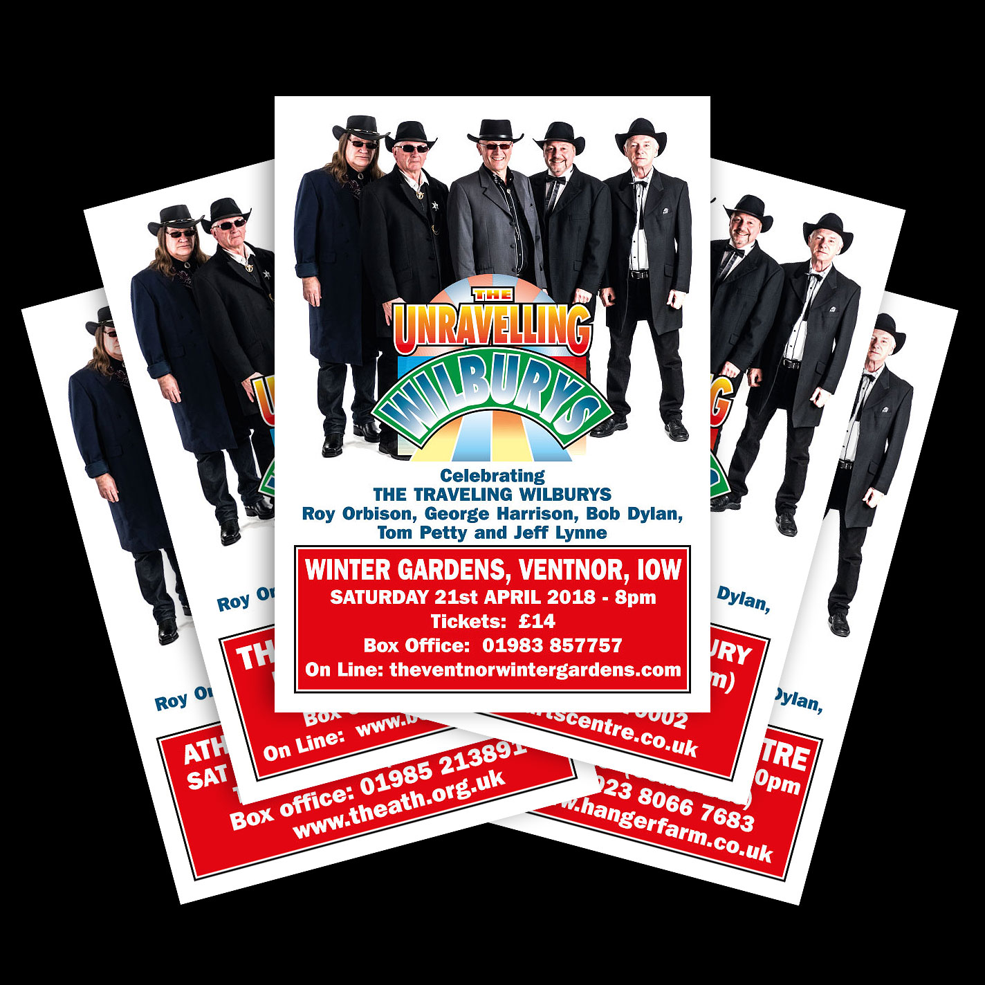 Print - Theatre Posters for The Unravelling Wilburys Tribute Band - A1, A3, A4 - Design & Artwork.